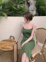 Dress Summer 2021 green Average size Mid length dress singleton  Sleeveless commute Crew neck High waist Solid color Socket other other camisole 18-24 years old Other / other Korean version Open back, wave, stitching