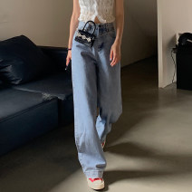 Jeans Summer 2021 S,M,L Light blue, dark blue trousers High waist Wide legged trousers routine 18-24 years old Button Dark color 9222 Other / other