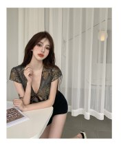 Lace / Chiffon Summer 2021 Retro Red, temperament green Average size Short sleeve commute Cardigan singleton  Straight cylinder have cash less than that is registered in the accounts V-neck Decor 18-24 years old Other / other Frenulum Korean version