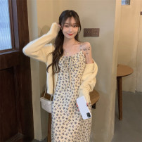 Dress Spring 2021 Pink sweater, yellow sweater, pink floral skirt, yellow floral skirt Average size Mid length dress singleton  Sleeveless commute V-neck High waist Broken flowers Socket other other Others 18-24 years old Other / other Korean version Print, lace up, open back other
