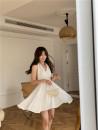 Dress Summer 2021 white S, M Short skirt singleton  Sleeveless commute V-neck High waist Solid color Socket other other Hanging neck style 18-24 years old Other / other Korean version Bandages, folds, open backs