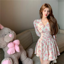 Dress Spring 2021 Pink Floral Skirt S,M,L Short skirt singleton  Long sleeves commute V-neck High waist Broken flowers Socket other routine Others 18-24 years old Other / other Korean version Print, fold A8025# 71% (inclusive) - 80% (inclusive) Chiffon other