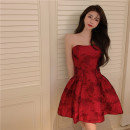 Dress Summer 2021 gules S, M Short skirt singleton  Sleeveless commute One word collar High waist Decor Socket other other Others 18-24 years old Other / other Korean version Flower, fold, open back 81% (inclusive) - 90% (inclusive)