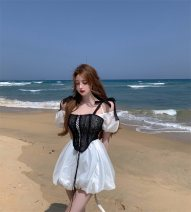 Dress Summer 2021 Black sling, white skirt S. M, average size Short skirt singleton  Short sleeve commute square neck High waist Solid color Socket A-line skirt puff sleeve Others 18-24 years old Type A Other / other Korean version Frenulum 51% (inclusive) - 70% (inclusive) other other