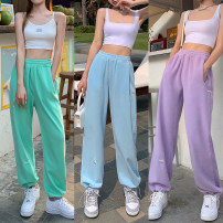 Casual pants White thin, blue thin, green thin, purple thin, gray thin, black thin, white regular, blue regular, green regular, purple regular, gray regular, black regular Average size Summer 2021 trousers Wide leg pants High waist commute routine 18-24 years old 71% (inclusive) - 80% (inclusive)