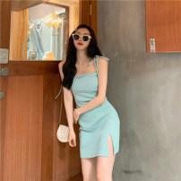Dress Summer 2021 Light green, black Average size Short skirt singleton  Sleeveless commute High waist Solid color Socket camisole 18-24 years old Korean version Bandage