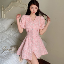 Dress Summer 2021 Pink, black S,M,L Short skirt singleton  Short sleeve commute V-neck High waist Solid color Single breasted other puff sleeve Others 18-24 years old Other / other Korean version Button, fold 31% (inclusive) - 50% (inclusive)