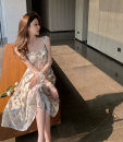 Dress Summer 2021 braces skirt S, M Mid length dress singleton  Sleeveless commute One word collar Elastic waist Broken flowers Socket other other camisole 18-24 years old Other / other Korean version Lace up, print, open back 9396# polyester fiber