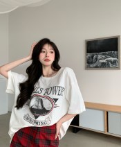T-shirt T-shirt, Plaid Shorts S. M, average size Summer 2021 elbow sleeve Crew neck easy Medium length routine commute cotton 31% (inclusive) - 50% (inclusive) 18-24 years old Korean version youth letter Other / other printing