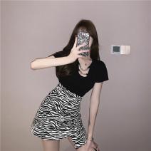 skirt Summer 2021 S. M, average size Black T-shirt, zebra skirt Short skirt commute High waist Irregular Zebra pattern 18-24 years old 7160# printing Korean version