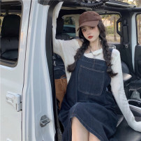 Dress Summer 2021 Light blue, blue gray Average size Mid length dress singleton  Sleeveless commute One word collar Loose waist Solid color Socket other other straps 18-24 years old Other / other Korean version backless