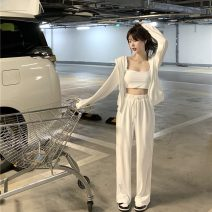 Casual pants vest , loose coat , trousers Average size Summer 2021 trousers Wide leg pants High waist commute Thin money 18-24 years old 51% (inclusive) - 70% (inclusive) Other / other other Korean version Bandage