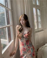 Dress Summer 2021 Decor suspender skirt S, M Mid length dress singleton  Sleeveless commute V-neck High waist Big flower Socket other other camisole 18-24 years old Other / other Korean version Ruffle, print, backless 30% and below polyester fiber
