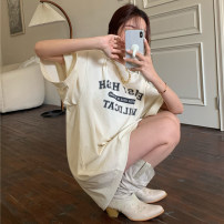 T-shirt Apricot Average size Spring 2021 elbow sleeve Crew neck easy Medium length routine commute cotton 30% and below 18-24 years old Korean version youth letter Other / other printing