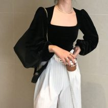 shirt black M, L Spring 2021 other 96% and above Long sleeves commute Regular square neck Socket puff sleeve Solid color 18-24 years old Self cultivation Korean version 2618#