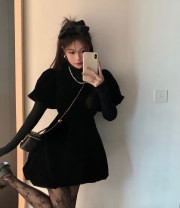 Dress Spring 2021 Small black skirt, black base coat S. M, average size Short skirt Two piece set Short sleeve commute Crew neck High waist Solid color Socket A-line skirt puff sleeve 18-24 years old Type A Other / other Korean version 51% (inclusive) - 70% (inclusive) other other