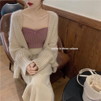 Wool knitwear Spring 2021 Average size Coffee coat, pink coat, apricot coat, apricot breast, pink breast Long sleeves singleton  Cardigan other 31% (inclusive) - 50% (inclusive) Regular routine commute easy other routine Solid color Korean version 18-24 years old Gouhua hollow