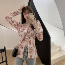 shirt Picture color S,M,L Spring 2021 Cellulose acetate 31% (inclusive) - 50% (inclusive) Long sleeves commute Regular V-neck Single row multi button puff sleeve Broken flowers 18-24 years old Self cultivation Other / other Korean version Print, fold man-made fiber