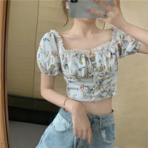 shirt Picture color S, M Spring 2021 other 51% (inclusive) - 70% (inclusive) Short sleeve commute Short style (40cm < length ≤ 50cm) square neck Single row multi button puff sleeve Broken flowers 18-24 years old Self cultivation Other / other Korean version Print, lace, stitching
