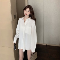 shirt Light blue, white, lake green Average size Spring 2021 other 96% and above Long sleeves commute Medium length Polo collar Single row multi button routine Solid color 18-24 years old Straight cylinder Other / other Korean version Button, pocket