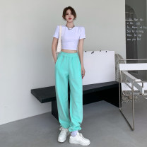 Casual pants White thin, green thin, blue thin, light gray thin, dark gray thin, black thin, white regular, green regular, blue regular, light gray regular, dark gray regular, black regular Average size Spring 2021 trousers Wide leg pants High waist commute routine 18-24 years old 9010# Other / other