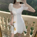 Dress Spring 2021 White, blue S, M Short skirt singleton  Short sleeve commute square neck High waist Solid color Socket other puff sleeve Others 18-24 years old Other / other Korean version Pleats, lace, stitching, bandages, bows 51% (inclusive) - 70% (inclusive) Chiffon polyester fiber