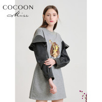 Dress Spring 2021 Medium grey XS,S,M Mid length dress singleton  Long sleeves commute Crew neck High waist Animal design zipper One pace skirt routine 25-29 years old Type H Cocoon / coconi lady Ruffle, three-dimensional decoration, nail bead, printing 81% (inclusive) - 90% (inclusive) cotton