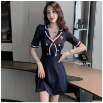 Dress Spring 2021 Navy-yjl, sky blue-803 S,M,L,XL,2XL,3XL Short skirt singleton  routine Stitching, solid color C59FDF07