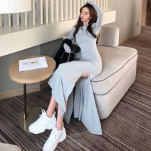 Dress Spring of 2019 Gray, black Average size longuette singleton  Long sleeves commute Hood High waist character zipper Cake skirt Flying sleeve Others 18-24 years old Type A Yi Lan Lei Korean version bow Article No. 63690530676 More than 95% Chiffon other