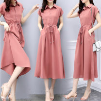 Dress Spring 2020 Black, pink XL,L,M,XXL longuette singleton  Short sleeve Sweet Polo collar middle-waisted Solid color Socket A-line skirt routine Others 25-29 years old For others, one can be issued on behalf of others Stitching, lacing Chiffon polyester fiber