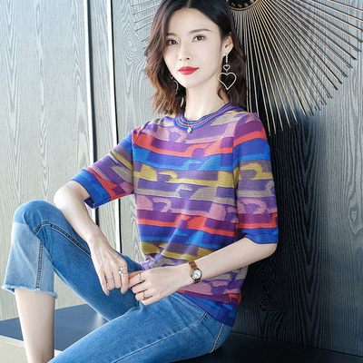 T-shirt Yellow, purple, orange M,L,XL,2XL,3XL,4XL Summer 2020 elbow sleeve Crew neck easy have cash less than that is registered in the accounts routine commute cotton 96% and above Korean version Other / other MSDL20204093 Splice, threaded
