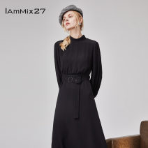 Dress Spring 2021 black S M L XL Mid length dress singleton  Long sleeves commute stand collar High waist Solid color Socket A-line skirt bishop sleeve Others 25-29 years old Type A IAmMIX27 Ol style Frenulum M0C9088 More than 95% other other Viscose (viscose) 100%