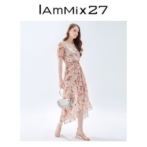 Dress Summer 2021 pale pinkish purple S M L XL longuette singleton  Short sleeve Sweet V-neck Elastic waist Decor Socket Irregular skirt puff sleeve Others 25-29 years old Type X IAmMIX27 Asymmetric printing M0B9203 More than 95% Chiffon polyester fiber Polyester 100% Countryside