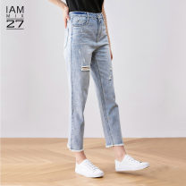 Jeans Summer 2020 Denim light blue S M L XL Ninth pants Natural waist Straight pants routine 25-29 years old Wear out Cotton denim light colour M9B7030 IAmMIX27 96% and above Cotton 100% Same model in shopping mall (sold online and offline)