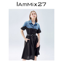 Dress Summer 2021 black S M L XL Mid length dress singleton  Short sleeve commute stand collar Elastic waist Solid color Single breasted other routine Others 25-29 years old Type X IAmMIX27 Korean version Splicing 51% (inclusive) - 70% (inclusive) other cotton