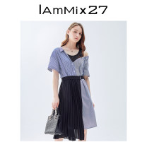 Dress Summer 2021 Denim light blue S M L XL Mid length dress Fake two pieces Short sleeve commute Crew neck Loose waist stripe Socket other other Others 25-29 years old Type X IAmMIX27 Korean version Patchwork lace M0B3031 More than 95% other cotton Cotton 100%