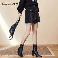 skirt Summer 2020 S M L XL Denim dark blue black Short skirt Versatile Natural waist A-line skirt Type A 25-29 years old M9C6033 Denim IAmMIX27 Same model in shopping mall (sold online and offline)