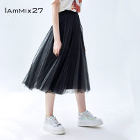 skirt Spring 2021 S M L XL Black gouache Mid length dress commute High waist Pleated skirt Solid color Type A 25-29 years old M0A6130 More than 95% other IAmMIX27 nylon lady Polyamide fiber (nylon) 100% Same model in shopping mall (sold online and offline)
