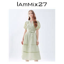 Dress Summer 2021 Tibetan green bean green lotus root color S M L XL Mid length dress singleton  Short sleeve commute V-neck High waist Solid color Socket other bishop sleeve Others 25-29 years old Type X IAmMIX27 Simplicity Splicing M0B9021 51% (inclusive) - 70% (inclusive) other nylon