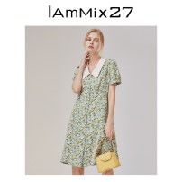 Dress Spring 2021 Clear sky blue bean green S M L XL Mid length dress singleton  Short sleeve commute square neck High waist Broken flowers Single breasted A-line skirt puff sleeve Others 25-29 years old Type A IAmMIX27 Retro M0C941A More than 95% Chiffon polyester fiber