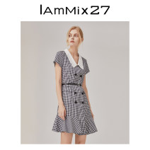 Dress Summer 2021 black and white S M L XL Short skirt singleton  Short sleeve commute Doll Collar High waist lattice double-breasted A-line skirt other Others 25-29 years old Type A IAmMIX27 Retro Ruffle stitching M0C943A 51% (inclusive) - 70% (inclusive) other cotton