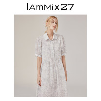 Dress Spring 2021 white S M Mid length dress singleton  Short sleeve commute square neck High waist Broken flowers Socket A-line skirt puff sleeve Others 25-29 years old Type A IAmMIX27 literature Button printing M0C993A More than 95% other cotton Cotton 100%