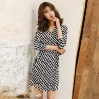 Dress Summer 2020 Mid length dress singleton  High waist One pace skirt PG DVF TS1102 XS,S,M,L,XL Chain collarless short 3 / 4 sleeve
