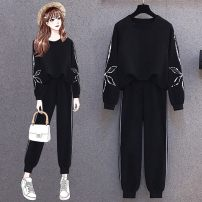 Women's large Spring 2021 Black Collection Plus purchase priority delivery L [recommended 100-120 kg] XL [recommended 120-140 kg] 2XL [recommended 140-160 kg] 3XL [recommended 160-180 kg] 4XL [recommended 180-200 kg] Other oversize styles Two piece set commute easy moderate Socket Long sleeves Darcis