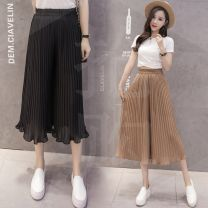 Casual pants Khaki, gray, white, pink, red, Navy, yellow, black S,M,L,XL Summer 2020 Cropped Trousers Wide leg pants High waist commute Thin money 18-24 years old 51% (inclusive) - 70% (inclusive) B123 Korean version fungus