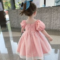 Dress Pink x55299 female Other / other 80cm,90cm,100cm,110cm,120cm,130cm Other 100% summer Korean version Short sleeve Solid color other A-line skirt X55299 2 years old, 3 years old, 4 years old, 5 years old, 6 years old, 7 years old