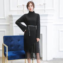 Dress Autumn of 2019 Black, apricot Average size Mid length dress Two piece set Long sleeves commute Double collar middle-waisted Solid color Socket other pagoda sleeve Others 25-29 years old Type H lady Splicing 1620# 81% (inclusive) - 90% (inclusive) knitting other