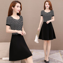 Women's large Summer 2020 Black and white Dress singleton  commute Self cultivation Conjoined Short sleeve stripe Simplicity square neck polyester fiber routine Han beiai 30-34 years old 81% (inclusive) - 90% (inclusive) Middle-skirt Polyester 90% other 10% Pure e-commerce (online only)