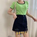 skirt Summer 2020 S,M,L,XL White skirt, black skirt Short skirt commute High waist A-line skirt lattice Type A 18-24 years old SG704117 30% and below other other Korean version