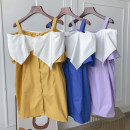 Dress Summer 2020 Yellow dress, purple dress, blue dress, white dress, black dress Average size Short skirt singleton  Sleeveless commute One word collar Loose waist Solid color Socket other 18-24 years old Other / other Korean version FG155188 30% and below other other